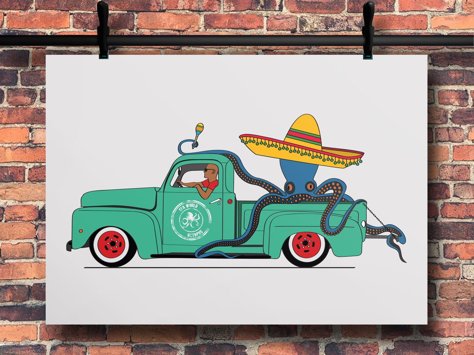 Illustration poulpe pick up Ford f100, réalisation Studio du Flamant rose, Bordeaux.