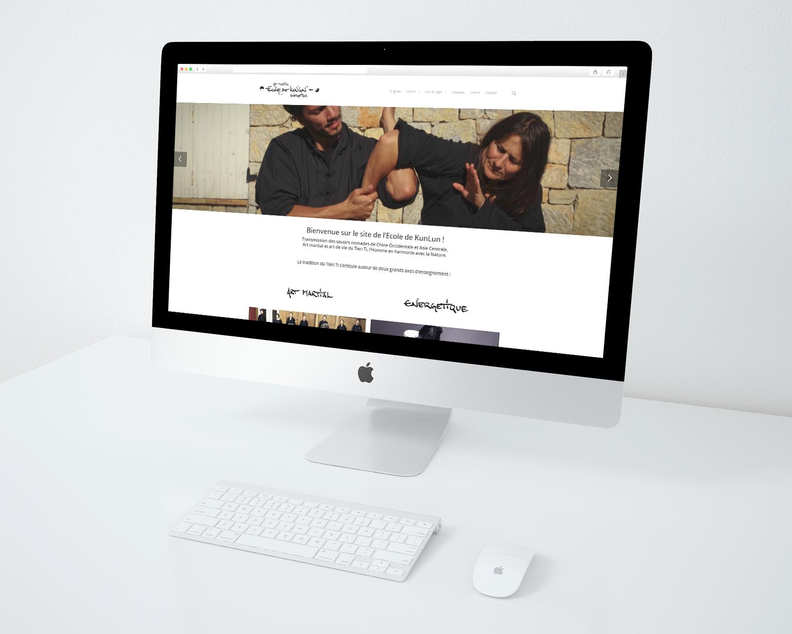 Réalisation du site officiel de l'école de Kunlun. Réalisation par le studio du flamant rose, Bordeaux