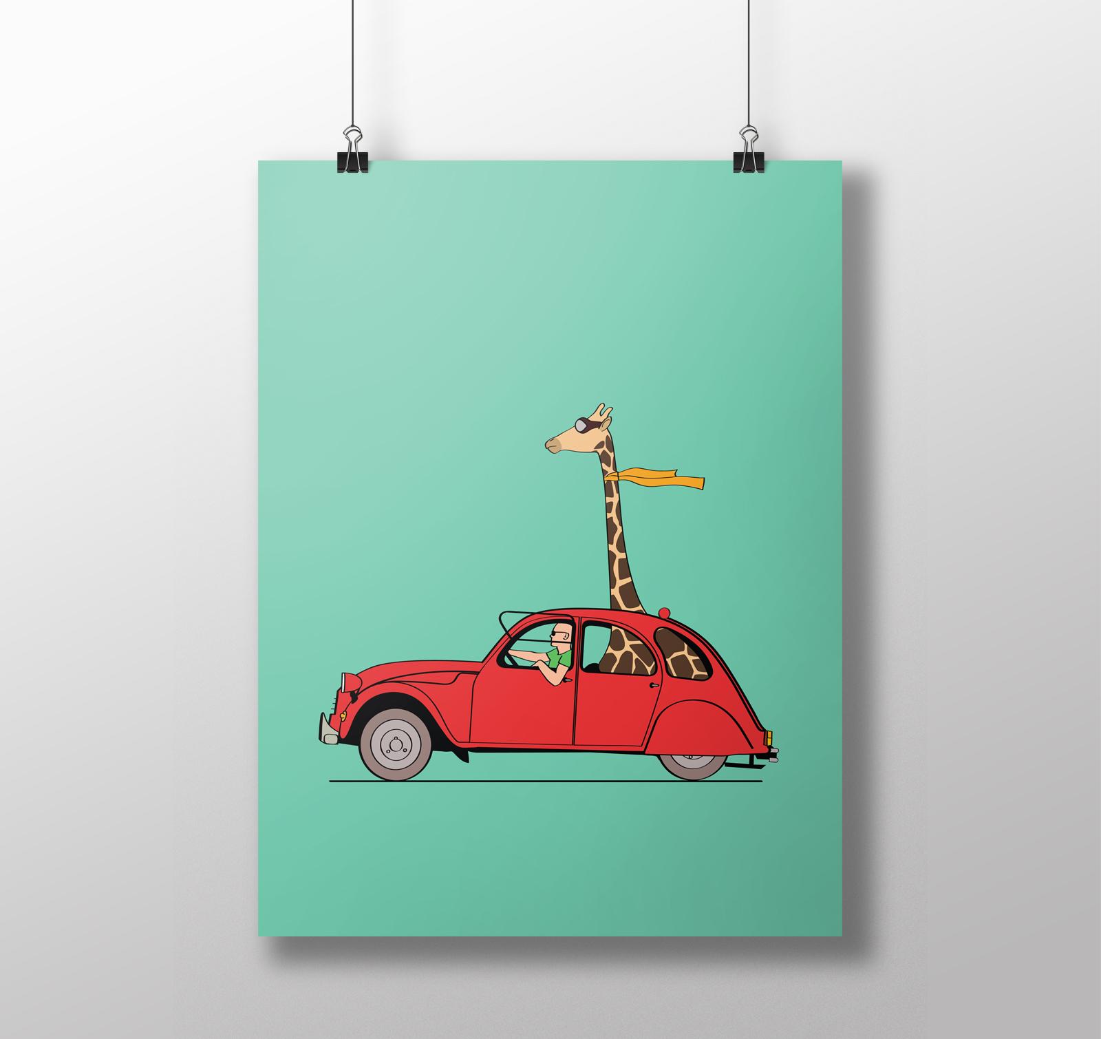 Illustration 2cv et girafe, réalisation Studio du Flamant rose, Bordeaux.