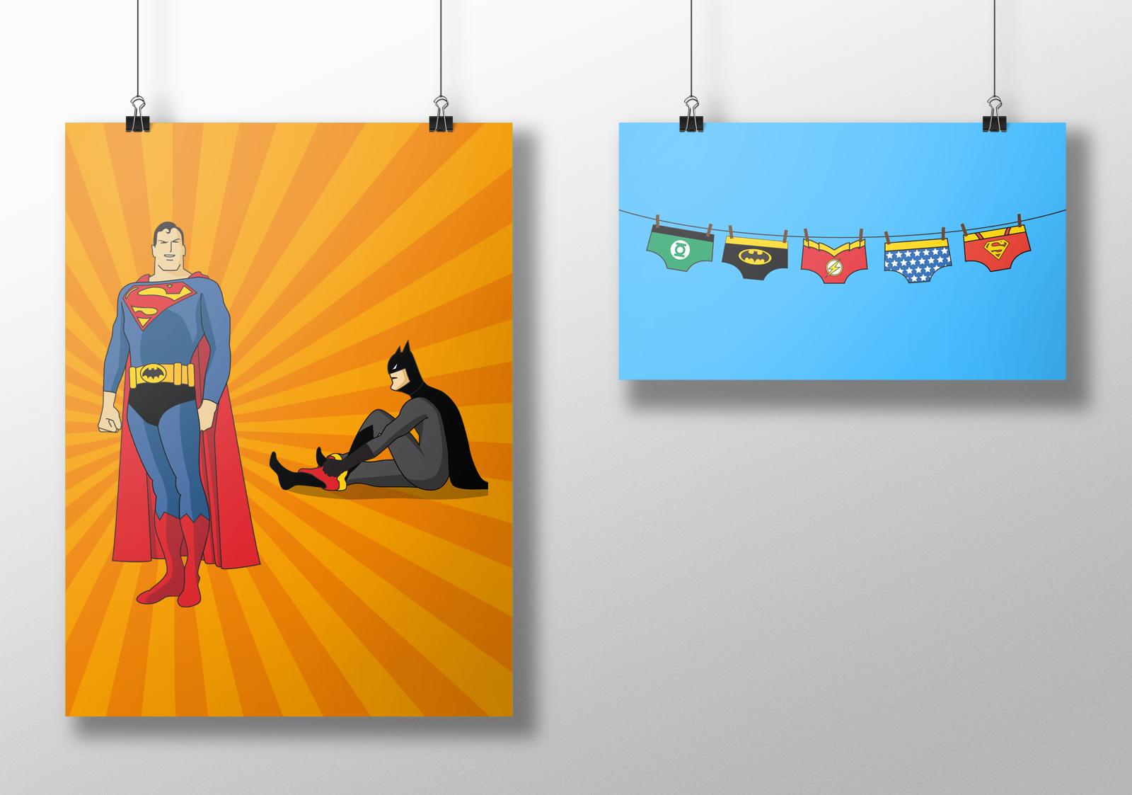 Illustration Batman et Superman échangeant leurs sous vêtements. Réalisation Studio du Flamant rose, Bordeaux.