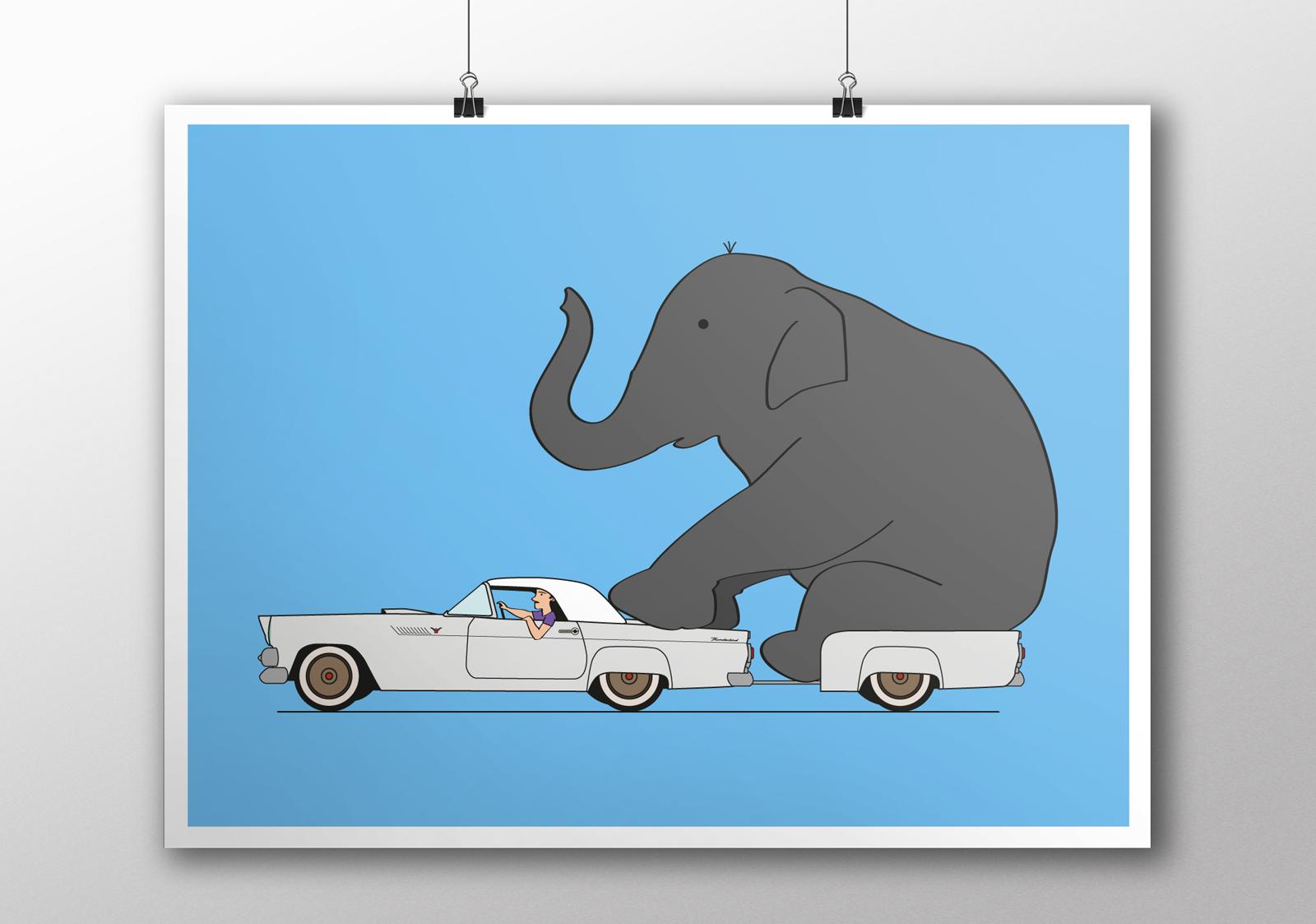 Illustration Thunderbird et éléphant, réalisation Studio du Flamant rose, Bordeaux.